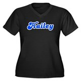 Retro Hailey (Blue) Women's Plus Size V-Neck Dark
