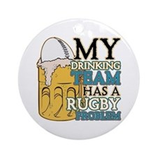 Rugby Drinking Team Ornament (Round)