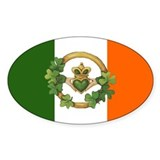 Irish Flag & Claddagh Oval Decal