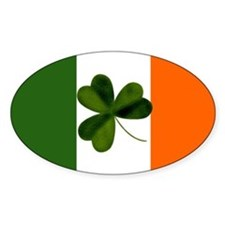 Irish Flag & Shamrock Oval Decal
