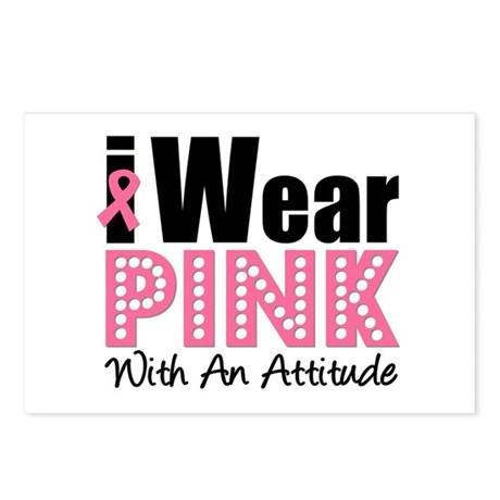 I Wear Pink Attitude Postcards (Package of 8)