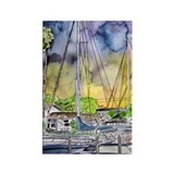 Sailboats Nautical watercolor Rectangle Magnet