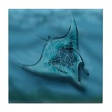Cute Manta ray Tile Coaster