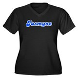 Retro Jasmyne (Blue) Women's Plus Size V-Neck Dark