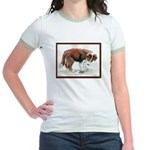 Puppy meets grasshopper Jr. Ringer T-Shirt