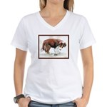Puppy meets grasshopper Women's V-Neck T-Shirt