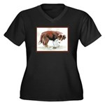 Puppy meets grasshopper Women's Plus Size V-Neck D