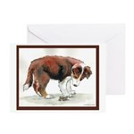 Puppy meets grasshopper Greeting Cards (Pk of 20)