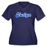 Retro Jazlyn (Blue) Women's Plus Size V-Neck Dark