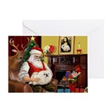 Santa's Pekingese (4W) Greeting Card