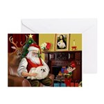 Santa's Pekingese (4W) Greeting Cards (Pk of 10)