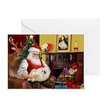 Santa's Pekingese (4W) Greeting Cards (Pk of 20)