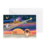 XmasStar/Pekingese (red) Greeting Card
