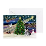 Xmas Magic & Schnauzer Puppy Greeting Card
