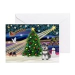 XmasMagic/Schnauzer (nat) Greeting Cards(Pk of 10)