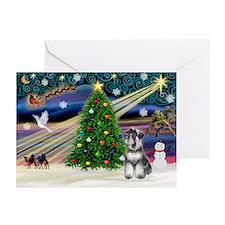 XmasMagic/Schnauzer (nat) Greeting Cards(Pk of 10)