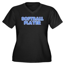 Retro Softball Pl.. (Blue) Women's Plus Size V-Nec