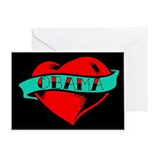 Obama Heart Tattoo Greeting Card
