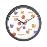 Golden Raspberries Wall Clock