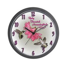Ruby Throated Hummingbirds Wall Clock