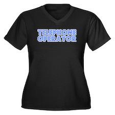 Retro Telephone o.. (Blue) Women's Plus Size V-Nec