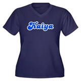 Retro Kaiya (Blue) Women's Plus Size V-Neck Dark T
