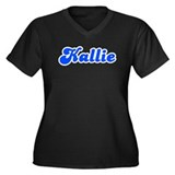 Retro Kallie (Blue) Women's Plus Size V-Neck Dark