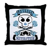 Blue Revenge and Revolution Throw Pillow