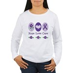 Purple Ribbon Alzheimer's Women's Long Sleeve T-Sh