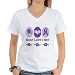Purple Ribbon Alzheimer's Women's V-Neck T-Shirt