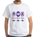 Purple Ribbon Alzheimer's White T-Shirt