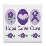 Purple Ribbon Alzheimer's Tile Coaster