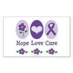 Purple Ribbon Alzheimer's Rectangle Sticker 50 pk