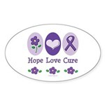 Purple Ribbon Alzheimer's Oval Sticker (10 pk)