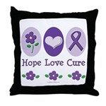 Purple Ribbon Alzheimer's Throw Pillow