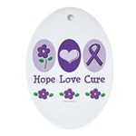 Purple Ribbon Alzheimer's Oval Ornament