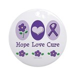 Purple Ribbon Alzheimer's Ornament (Round)