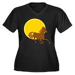 Sunset Horse Women's Plus Size V-Neck Dark T-Shirt