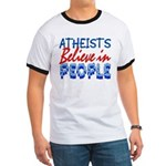 Atheists Believe Ringer Tee Shirt