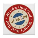 World's Best Dad of Twin Boy Girl Tile Coaster