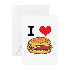I Heart (Love) Cheeseburgers Greeting Card
