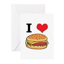 I Heart (Love) Cheeseburgers Greeting Cards (Pk of