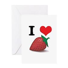 I Heart (Love) Strawberries Greeting Card