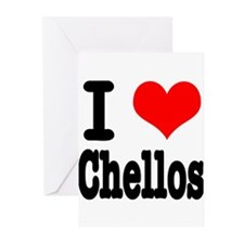 I Heart (Love) Chellos Greeting Cards (Pk of 20)