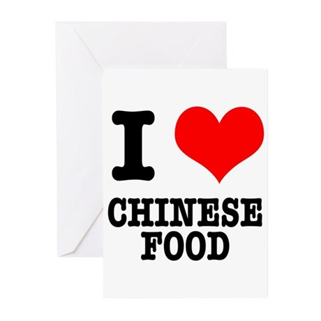 I Heart (Love) Chinese Food Greeting Cards (Pk of