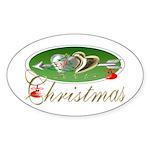 I Love Christmas Oval Sticker