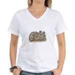 Silly Little Sleeping Bear Women's V-Neck T-Shirt