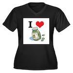 I Heart (Love) Green Olives Women's Plus Size V-Ne