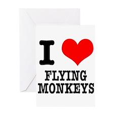 I Heart (Love) Flying Monkeys Greeting Card
