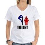 Toilet Peek Women's V-Neck T-Shirt